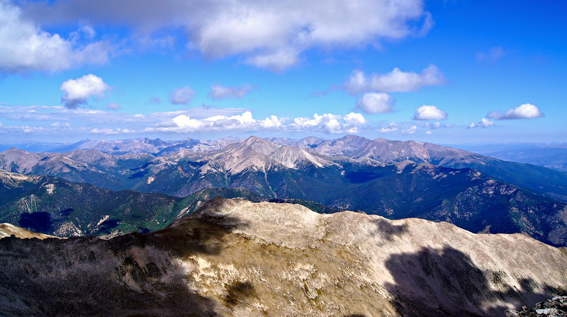 The Collegiate Peaks: Yale, Harvard, Columbia, Oxford, along with Mt. Belford, Missouri Mountain and Huron Peak viewed from the summit of Mt. Princeton; Colorado Sawatch Range.