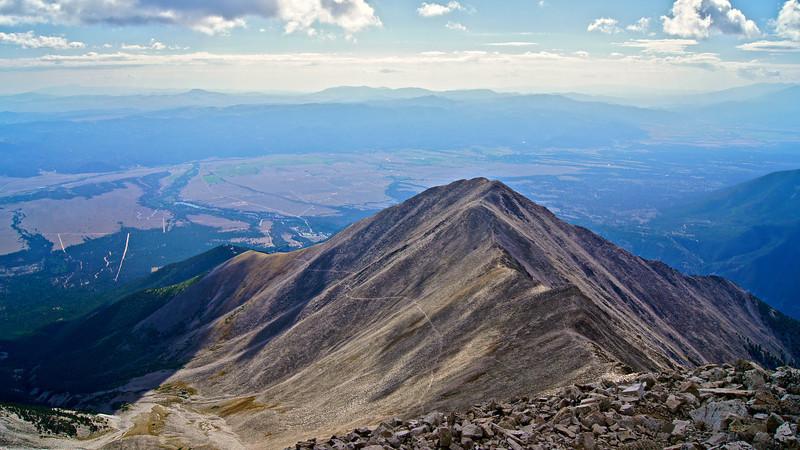 The southeast ridge of Mt. Princeton rises high above the Arkansas valley; Colorado Sawatch Range.