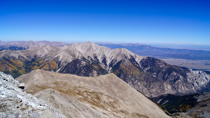 High angle view of Mt. Princeton from summit of neigbor, Mt. Antero; Colorado Sawatch Range.