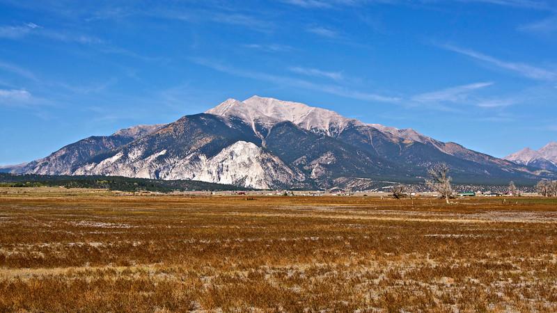 Mount Princeton towers over the Arkansas Valley, west of Buena Vista; Colorado Sawatch Range.