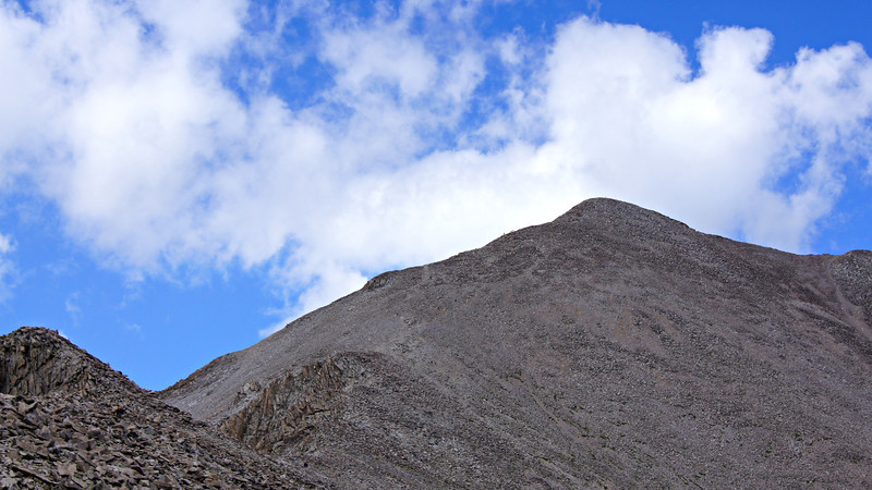 Hikers are barely visible as they make their way to the summit of Mt. Princeton; Colorado Sawatch Range.