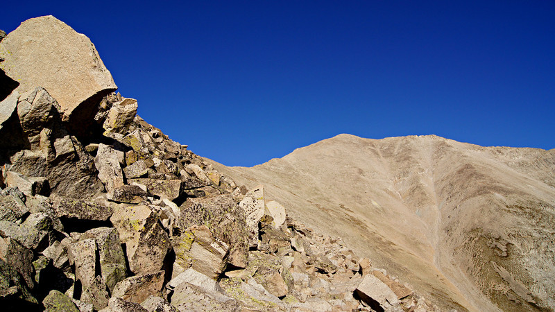 Tumbled granite obscures the trail across the east face of Mt. Princeton; Colorado Sawatch Range.