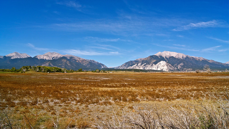 Twin towers, Mt. Princeton and Mt. Antero rise high over the Arkansas Valley west of Buena Vista; Colorado Sawatch Range.
