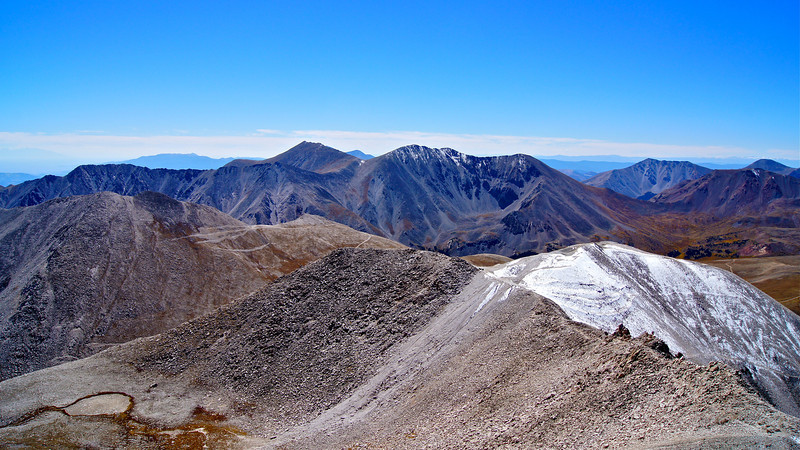 Looking south at Mt. Shavano and Tabeguache Peak from the summit of Mount Antero; Colorado Sawatch Range.