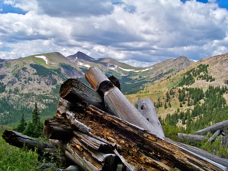Ruins of an ancient cabin at 12,000 ft. on Mount Yale, Colorado Saw