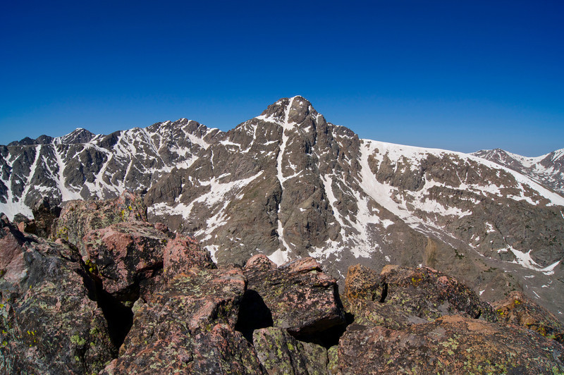 Late spring snow fills the famous cross couloir; Mount of the Holy Cross, viewed from Notch Mountain (13,248 ft.) to the east; Colorado Sawatch Range.