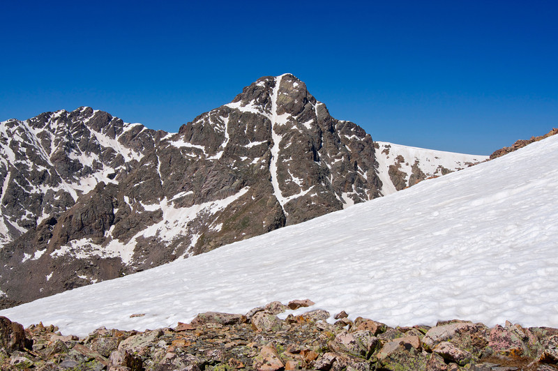 Mount of the Holy Cross viewed from the snow fields of neighboring Notch Mountain; Colorado Sawatch Range.