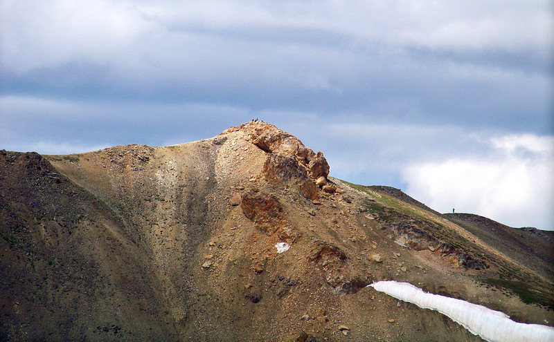 Hikers on the summit and north ridge of Mt. Belford, Colorado Sawatch Range.