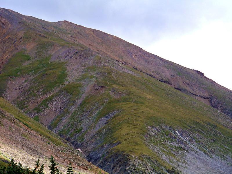 Mt. Belford's northwest ridge is best known for its distinctive winding trail, Colorado Sawatch Range