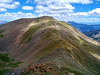 A hiker's trail winds along the gentle southwest ridge to Mt. Oxford, Colorado Sawatch Range