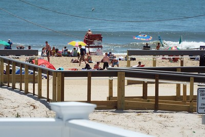 VIEW OF BEACH FROM TOP DECK