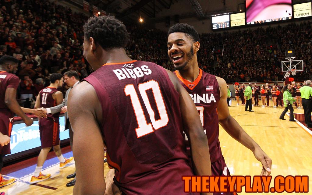 Jalen Hudson and Justin Bibbs congratulate each other after the final buzzer. (Mark Umansky/TheKeyPlay.com)