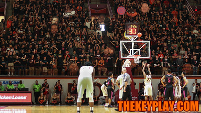 The Virginia Tech student section tries their best to cause a distraction during Florida State free throws late in the game. (Mark Umansky/TheKeyPlay.com)