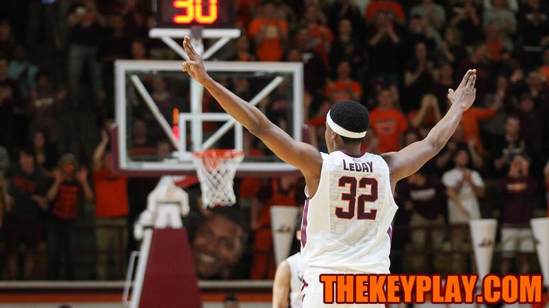 Zach Leday celebrates another Virginia Tech three point shot in the second half. (Mark Umansky/TheKeyPlay.com)