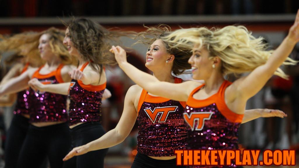 The Virginia Tech High Techs perform during a late timeout. (Mark Umansky/TheKeyPlay.com)