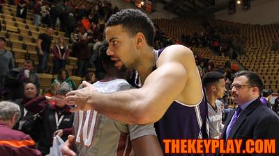 Former Virginia Tech player Joey Van Zegeren hugs every Hokies player in the handshake line after the final whistle. (Mark Umansky/TheKeyPlay.com)