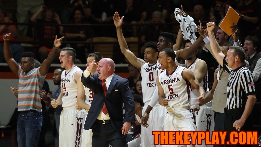Head coach Buzz Williams celebrates a charge call in favor of the Hokies. (Mark Umansky/TheKeyPlay.com)
