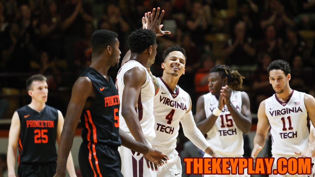 Seth Allen (4) high fives Justin Bibbs after forcing a Princeton turnover. (Mark Umansky/TheKeyPlay.com)