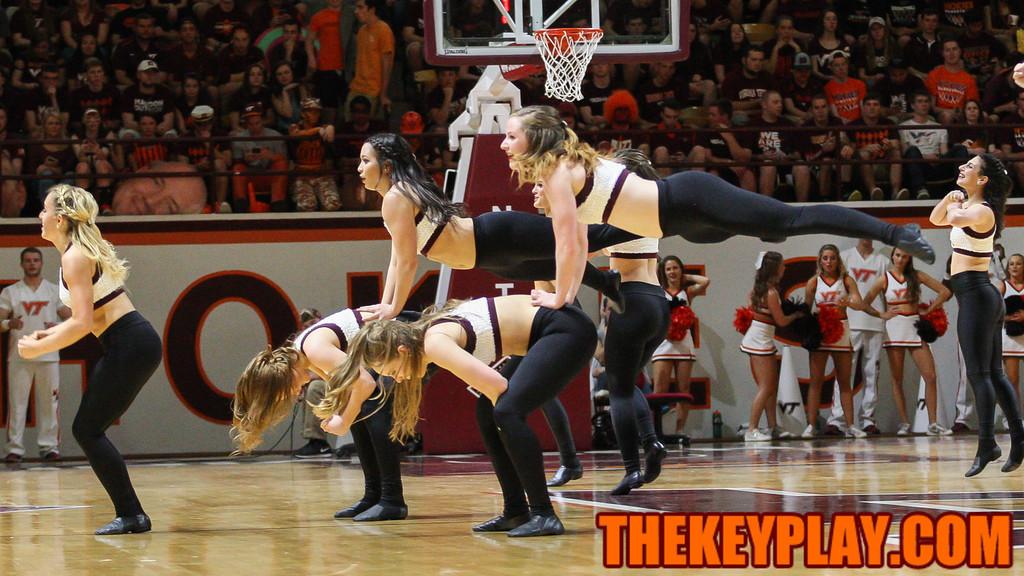The Virginia Tech HIgh Techs perform for the crowd during halftime. (Mark Umansky/TheKeyPlay.com)