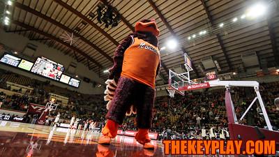 The Hokiebird stands on the court at the baseline before tipoff. (Mark Umansky/TheKeyPlay.com)