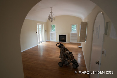 Family Room looking from dining room, Mr woof not included in demo, note curved original door to be refinished