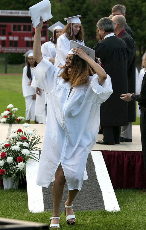 . Fitchburg High School graduation was held at Crocker Field on Friday night, May 31, 2019. Very happy after getting her diploma is graduate Naya Nazario. SENTINEL & ENTERPRISE/JOHN LOVE