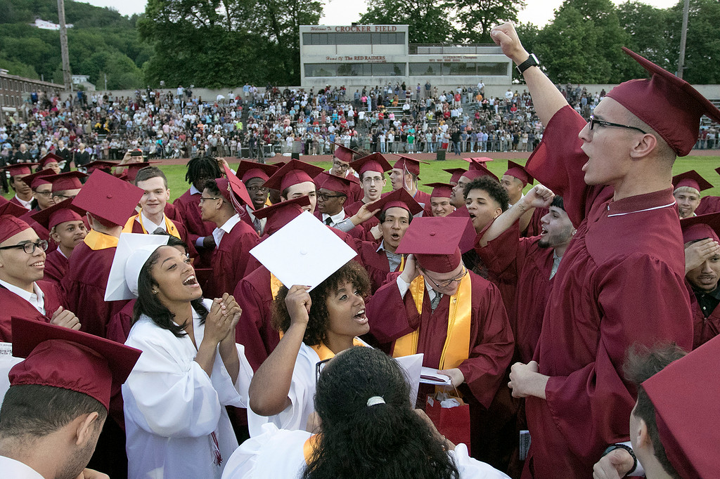 . Fitchburg High School graduation was held at Crocker Field on Friday night, May 31, 2019. Class President Josiah Begor gets the graduates all riled up just before they tossed their caps. SENTINEL & ENTERPRISE/JOHN LOVE