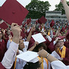Fitchburg High School graduation was held at Crocker Field on Friday night, May 31, 2019. Graduate gathered in the center of the field and get ready to toss their caps. SENTINEL & ENTERPRISE/JOHN LOVE