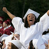 Fitchburg High School graduation was held at Crocker Field on Friday night, May 31, 2019. Graduate DeAundre Wiggins celebrates with her class after they got their diplomas. SENTINEL & ENTERPRISE/JOHN LOVE