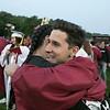 Fitchburg High School graduation was held at Crocker Field on Friday night, May 31, 2019. Graduate Jorge Castro hugs his friend Antonio Guzman at the end of the ceremony. SENTINEL & ENTERPRISE/JOHN LOVE