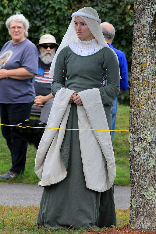. The 15th annual Blacksmith Art and Renaissance Festival was held on Saturday, September 29, 2018. Joann Cowley, dressed the part, from Connecticut watches the jousting at the festival. SENTINEL & ENTERPRISE/JOHN LOVE