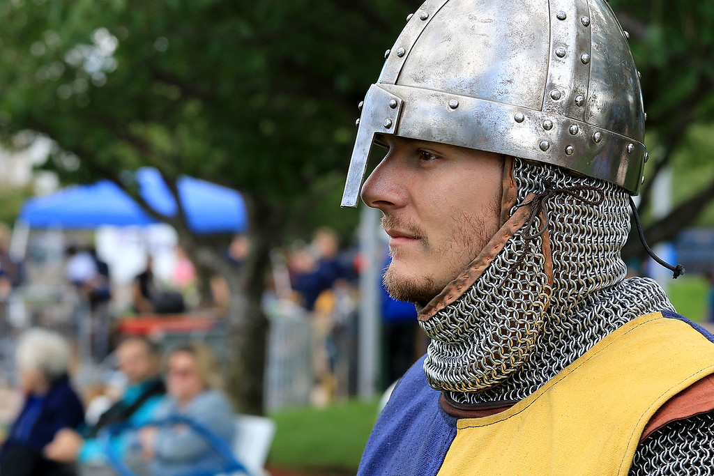 . The 15th annual Blacksmith Art and Renaissance Festival was held on Saturday, September 29, 2018. Branden Wasilank, dressed the part, from Connecticut watches the jousting at the festival. SENTINEL & ENTERPRISE/JOHN LOVE