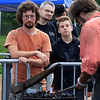 The 15th annual Blacksmith Art and Renaissance Festival was held on Saturday, September 29, 2018. Watching blacksmiths work, from left, is Jason Hilley from Connecticut, James Danzl from Fitchburg and Mark Callerg, 14, from Ashburnham. SENTINEL & ENTERPRISE/JOHN LOVE