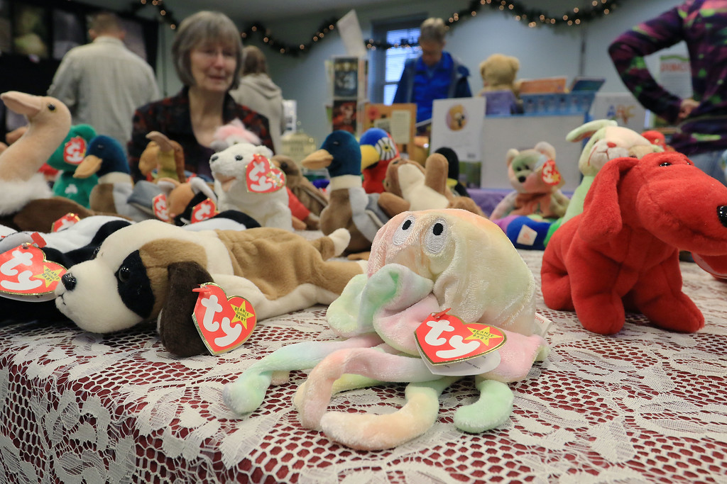 . Holiday Fair and Cookie Sale was held at the Hazen Memorial Library in Shirley on Saturday, November 3, 2018. Sharon Palinsky of Shirley had a table of her many Beanie Babies on sale at the fair. She had been collecting for years and it was time to get rid of some of them. This one up front was jellyfish named Goochy. SENTINEL & ENTERPRISE/JOHN LOVE