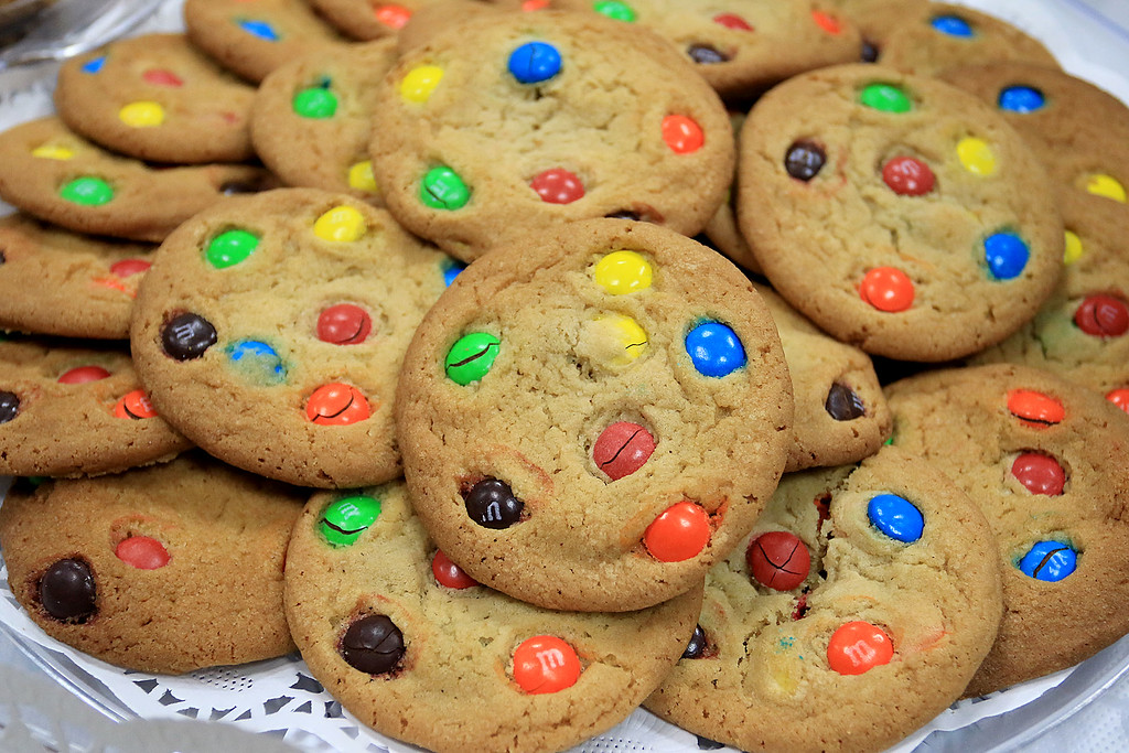 . Holiday Fair and Cookie Sale was held at the Hazen Memorial Library in Shirley on Saturday, November 3, 2018. These M&M cookies where just some of the many they had on sale at the fair. SENTINEL & ENTERPRISE/JOHN LOVE