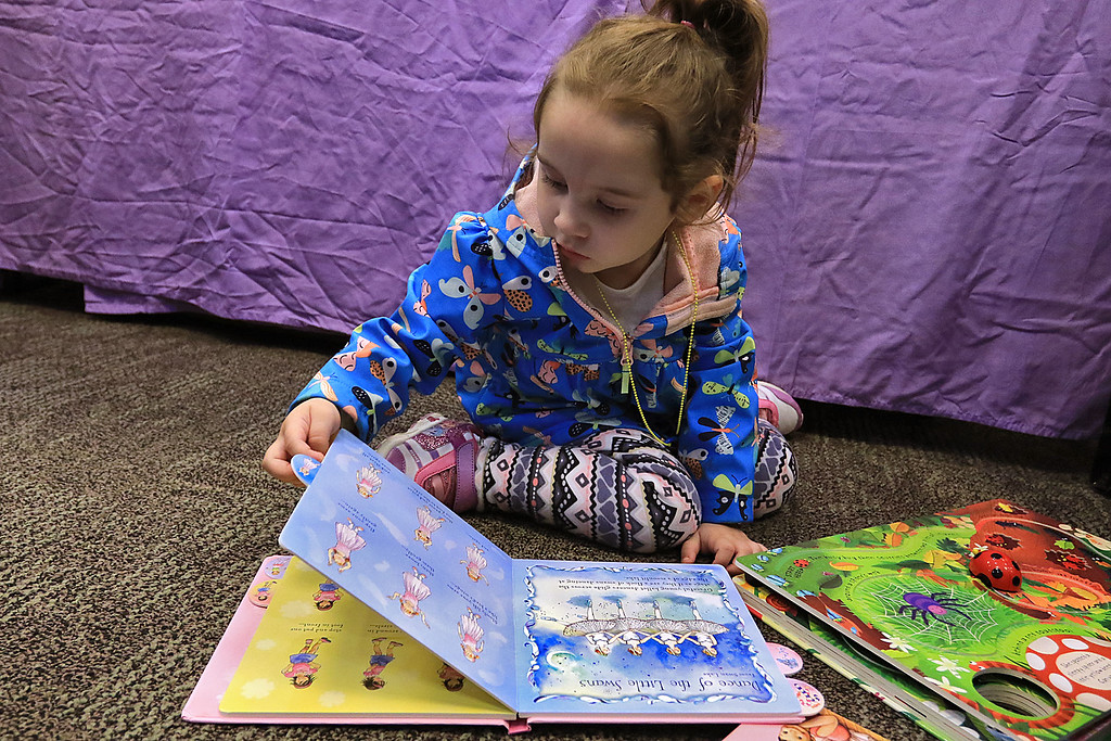 . Holiday Fair and Cookie Sale was held at the Hazen Memorial Library in Shirley on Saturday, November 3, 2018. Davina Cummings, 3, of Shirley read one of the books she was thinking of getting at Usborne Books display at the fair. SENTINEL & ENTERPRISE/JOHN LOVE
