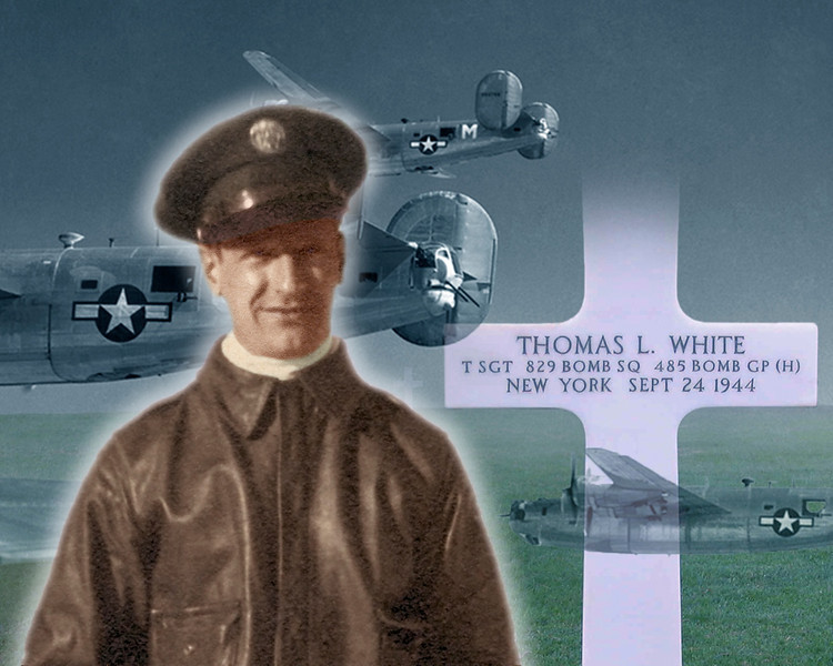 "These galleries feature our great-uncle, Thomas L ""Tommy"" White  -- who served as a Radio Operator & Waist Gunner with the 485th Bombardment Group (829th Squadron) of the US Army's 15th Air Force, based at Venosa Italy. Tom was KIA on Sept. 24, 1944 (along with seven others of his 10-man crew) when their B-24 Liberator was shot down by flak over Nazi-occupied Greece.<br /> <br /> We are actively seeking ANY relevant information -- documents, pictures, even oral recollections -- concerning such things as mission accounts (a complete log of the sorties our great-uncle flew is included below); Technical & Gunnery training (Tom's was in 1943 at Sioux Falls, SD and Tyndall Field, FL respectively; he was later posted to the Army base at Casper WY); and daily life at Venosa -- especially during the summer and early fall of '44. <br /> <br /> Wanting to track down any photo that includes Tommy while in Italy (we have none), or to hear from anyone who may even have met him there. Also hoping to make contact with family members and descendants of any of Tom's fellow crew -- original crew photo & names are included in this gallery.<br /> <br /> Please contact... <br /> John Bertram & Mary Gordon  86 Colin Ave., Toronto ON,  M5P 2C2  Canada <br /> phone:  416-486-2486    <br /> e-mail:  jb @ jbmg . ca  [with spaces removed]"