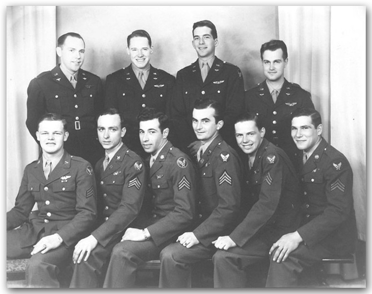 We know that the crew's Bombardier, Lt. Joe Hackler, is standing upper left, and Tail Gunner Sgt. Dale Morrison is seated lower right. They are the two members of Tom's crew who survived the September 24/44 mission to Salonika Greece. We have also recently learned that Foster Chapman -- the man Tom White had to replace at the last minute as the crew's Radio Operator before they left for Italy -- is seated 3rd from right. <br /> <br /> We believe Pilot Robert Hegmann is standing upper right, but we're hoping that can be confirmed, along with the positions of Co-Pilot Bryson Watts;  Navigator Edgar Christian;  Engineer & Waist Gunner Walter Stone;  Ball Turret Gunner Cecil Smith;  Upper Turret Gunner Joseph Cullen;  and Nose Gunner Edward Oliveira.