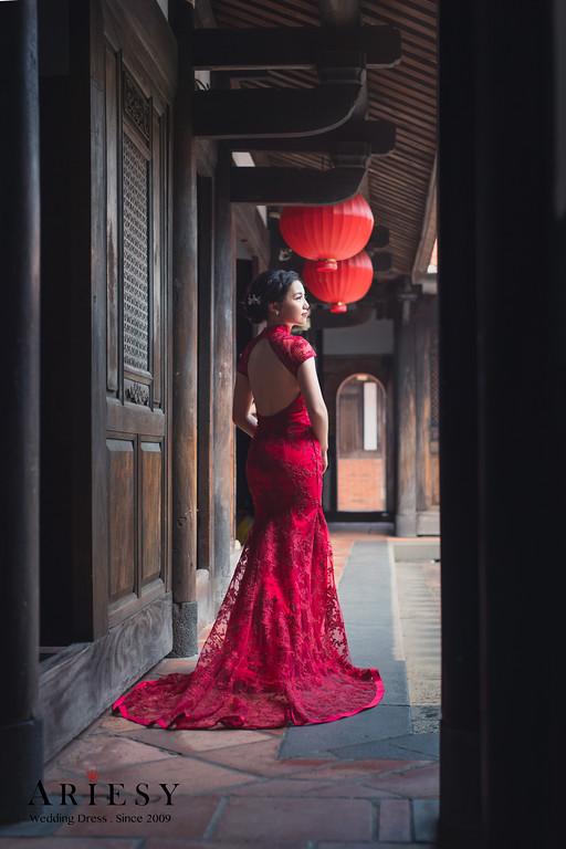 禮服出租,新莊自助婚紗,手工婚紗,婚紗包套,類旗袍紅色晚禮服,立領小包袖晚禮服