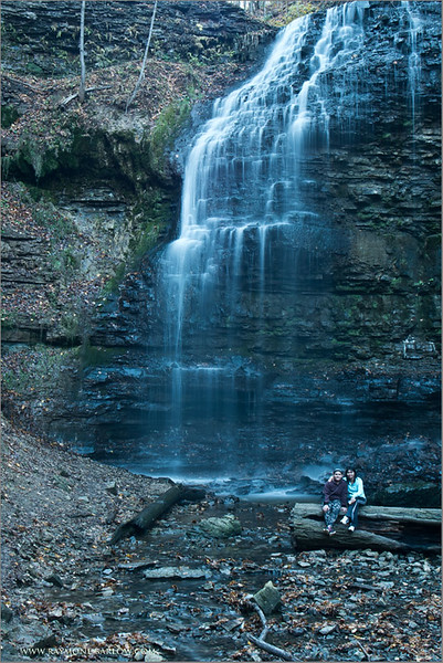 Tiffany Falls with Daisy and Maria<br /> Raymond's Ontario Nature Tours<br /> <br /> ray@raymondbarlow.com<br /> Nikon D810 ,Tokina 19-35mm f/3.5-4.5 AF<br /> 8s f/22.0 at 32.0mm iso31