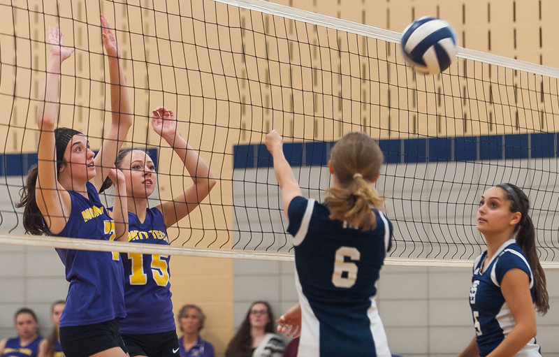 Monty Tech's Colleen Fitzgerald (7) and Jessy Silvera (15) prepare to defend a shot from St Bernard's Katherine Bigelow (6) and Sarah Achi during a match on Monday, Oct. 3, 2016. SENTINEL&ENTERPRISE/ Jim Marabello