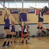 St Bernard's Abigail Browchuk goes up for a shot against Monty Tech's Colleen Fitzgerald and Jessy Silvera. SENTINEL&ENTERPRISE/ Jim Marabello