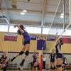 Monty Tech's Colleen Fitzgerald goes up for the spike against St Bernard's. SENTINEL&ENTERPRISE/ Jim Marabello