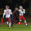 John O'Friel of North MIddlesex picks off a pass by Fitchburg QB Andrew Brooks in the 4th quarter. (SENTINEL&ENTERPRISE/ Jim Marabello)