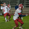 North Middlesex QB Joe Haskins lets go with a pass that was caught by Jake Hachey (32).(SENTINEL&ENTERPRISE/ Jim Marabello)