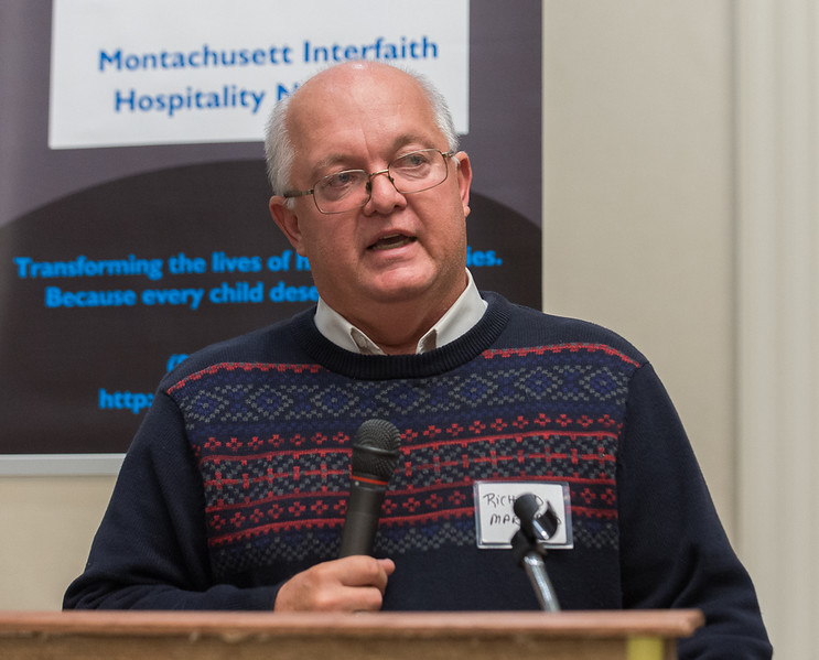 Leominster City Councillor Richard Marchand introduces longtime friend Mayor Dean Mazzarella, at an Evening of Thanks for the Mayor sponsored by the Montachusett Interfaith Hospitality Network. SENTINEL&ENTERPRISE/ Jim Marabello