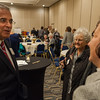 Leominster Mayor Dean Mazzarella talks with guests at an Evening of Thanks for him sponsored by the Montachusett Interfaith Hospitality Network. SENTINEL&ENTERPRISE/ Jim Marabello