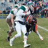 Oakmont's Evan Bourque gets hit by Dylan Zarozinski of Gardner. SENTINEL&ENTERPRISE/ Jim Marabello