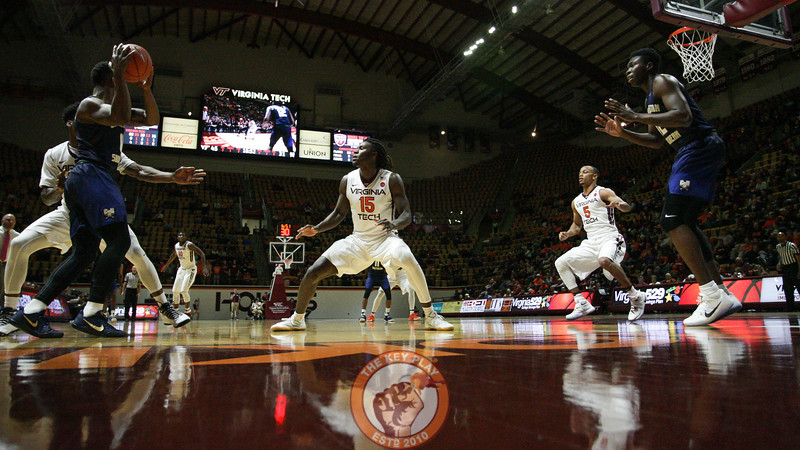 The Hokies press Charleston Southern as they try to bring the ball upcourt. (Mark Umansky/TheKeyPlay.com)
