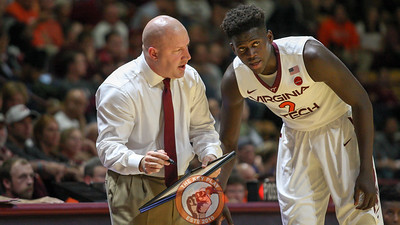 Head coach Buzz Williams gives instructions to one of his new freshmen, Khadim Sy. (Mark Umansky/TheKeyPlay.com)